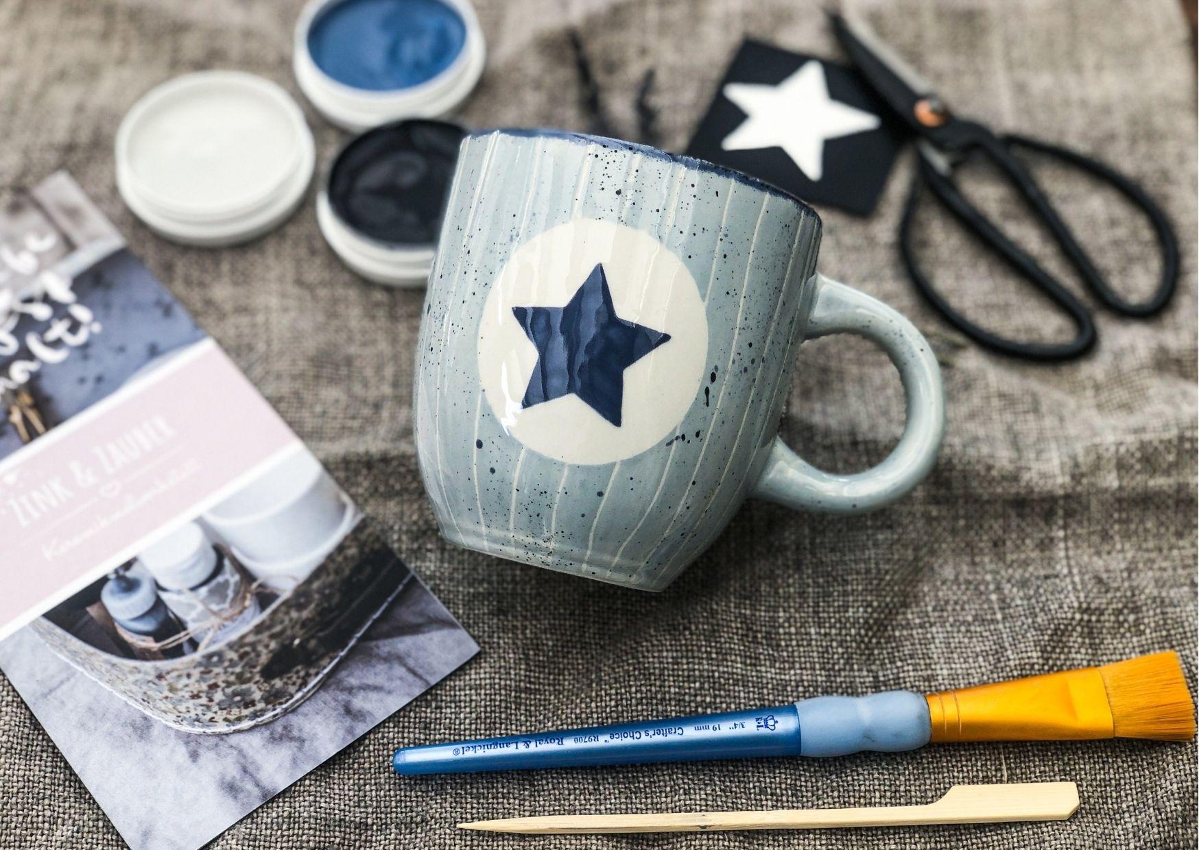 Keramik2go Box Mini in blau mit Zubehör